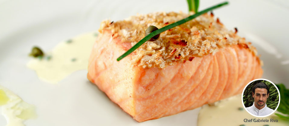 Mustard and Panko-encrusted Salmon Fillet with Lemon & Chive Créme Fraiche