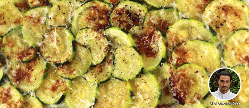 Baked Zucchini Carpaccio with Parmesan and Aged Balsamic Vinegar